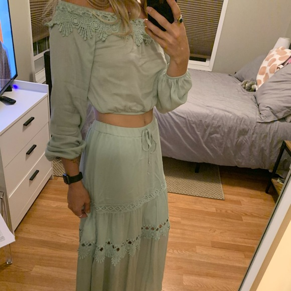 bisou's project Dresses & Skirts - BoHo Maxi Skirt and Matching off the shoulder crop